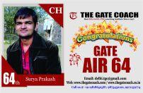 GATE 2016 Topper AIR 64