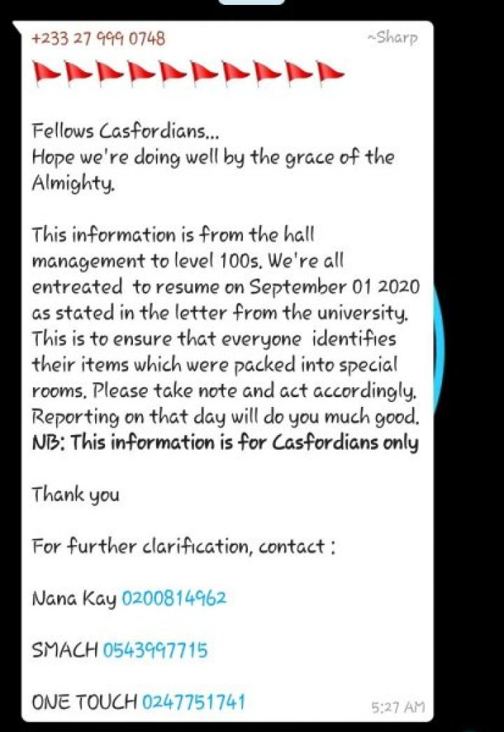 Resume on September 1st to Identify your items - Casford Hall Management Admonishes Fellows