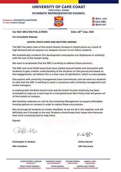 Press Release: UCC SRC Intervenes In High Hostel Prices On Campus