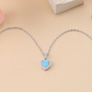 Blue Opal Heart Necklace - Opal Heart Pendant - Silver Opal Necklace - Silver Opal Heart 2