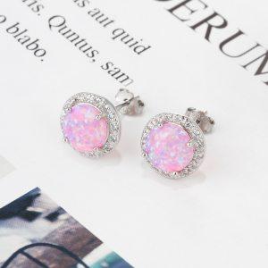 Pink Opal Earrings - 925 Sterling Silver Opal Earrings