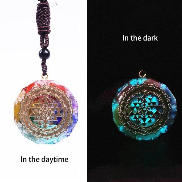 Glowing Chakra Necklace - Glowing Chakra Pendant - Glowing Yoga Necklace - Glowing Energy Necklace - Glowing Sri Yantra Pendant