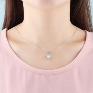 Opal Heart Necklace - Opal Heart Pendant - Silver Opal Necklace - Silver Opal Heart 4