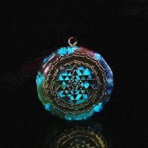 Glowing Chakra Necklace - Chakra Pendant - Yoga Necklace - Energy Necklace - Sri Yantra Pendant - Energy Pendant