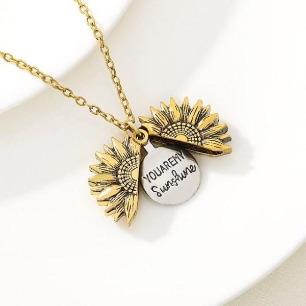 Sunflower Necklace - Sunflower Jewelry - Sunflower Pendant - Sunflower Locket - You Are My Sunshine Necklace