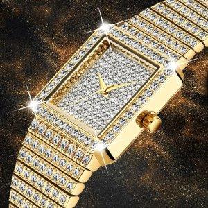 Ladies Crystal Dress Watch - Elegant Crystal Dress Watch - Womens Crystal Watch - Gold