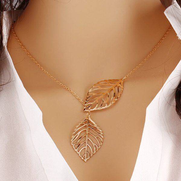 Leaf Necklace – Leaves Necklace – Double Leaf Necklace – Two Leaves Necklace – Best Gifts Gallery
