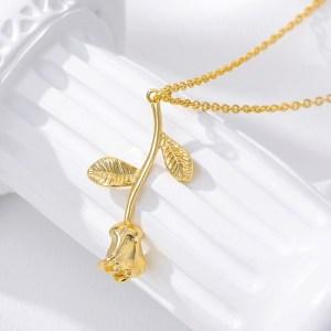 Rose Necklace - Rose Pendant - Rose Flower Necklace - Rose Jewelry - Gold Rose Necklace - Silver Rose Necklace