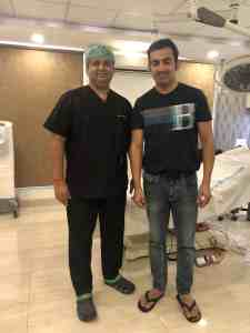 Dr Arihant Surana with Gautam gambhir at Monaris skin and Hair clinic