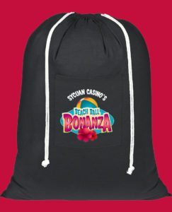 Polyester laundry bag printed with Promo HD custom heat transfers.