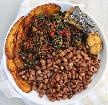 Beans and Ugu Vegetables