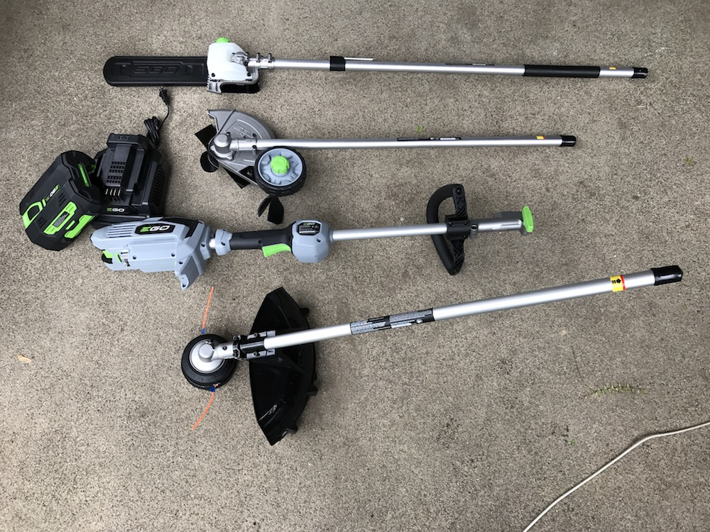 EGO power head system with pole saw, string trimmer, edger