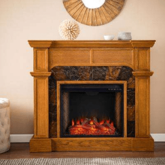 Electric Fireplace With Flat Wall Mantel Surround