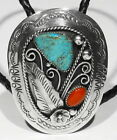 Huge Old Signed Navajo NATURAL GEM Turquoise Coral 925 Silver Bolo Tie Necklace