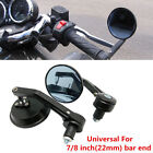 Black Motorcycle CNC Aluminum Rear View Handle Bar End 7 8 Mirrors Round