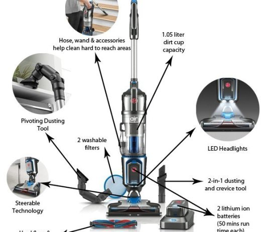 Hoover Air Cordless Lift Bagless Upright Vacuum, BH51120PC