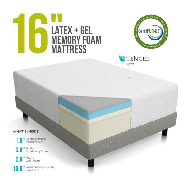 lucid 16 inch plush memory foam and latex mattress review 2