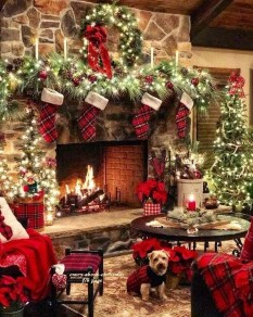 Marvelous Rustic Christmas Fireplace Mantel Decorating Ideas01