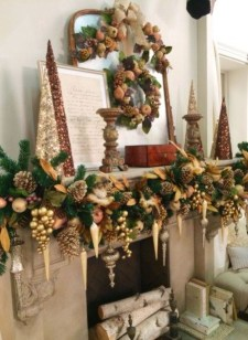 Marvelous Rustic Christmas Fireplace Mantel Decorating Ideas23