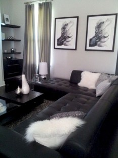 Luxury Black Leather Living Room Sofa Ideas For Comfortable Living Room22