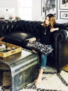 Luxury Black Leather Living Room Sofa Ideas For Comfortable Living Room23
