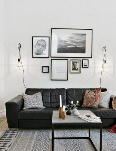 Luxury Black Leather Living Room Sofa Ideas For Comfortable Living Room34