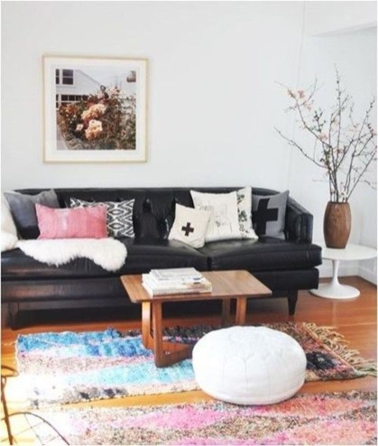Luxury Black Leather Living Room Sofa Ideas For Comfortable Living Room35