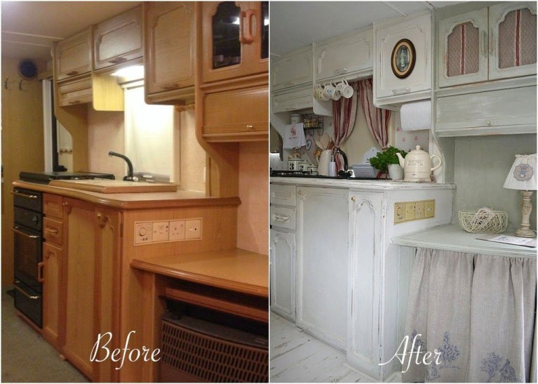 Shabby Chic Trailer Makeover Renovation Ideas48