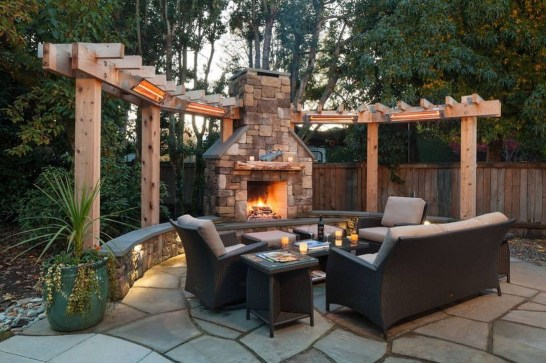Relaxing Outdoor Fireplace Designs For Your Garden10