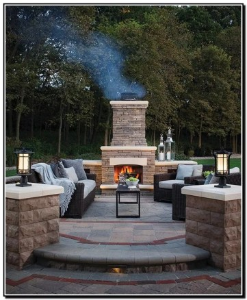 Relaxing Outdoor Fireplace Designs For Your Garden18