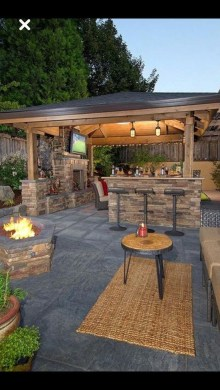 Relaxing Outdoor Fireplace Designs For Your Garden26