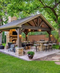 Relaxing Outdoor Fireplace Designs For Your Garden30