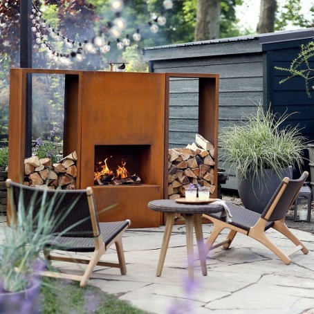 Relaxing Outdoor Fireplace Designs For Your Garden39