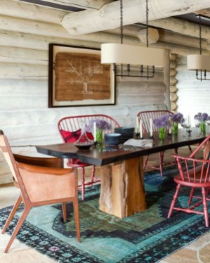Warm Cozy Rustic Dining Room Designs For Your Cabin09