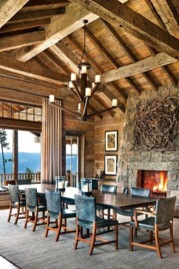 Warm Cozy Rustic Dining Room Designs For Your Cabin18