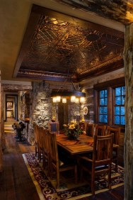 Warm Cozy Rustic Dining Room Designs For Your Cabin34
