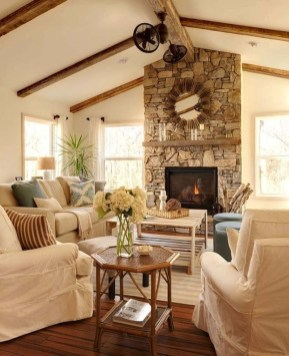 Warm Rustic Family Room Designs For The Winter35