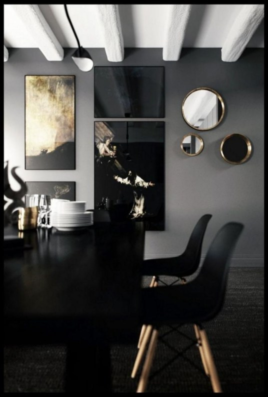 Luxurious Black And Gold Dining Room Ideas For Inspiration46
