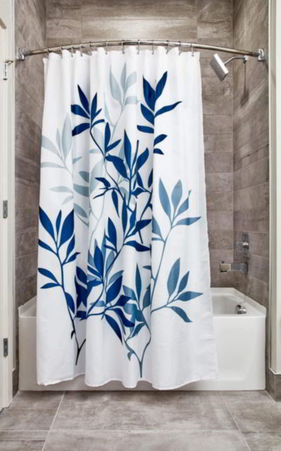 iDesign Leaves Fabric Shower Curtain