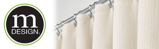 mDesign Hotel Quality Polyester/Cotton Shower Curtain