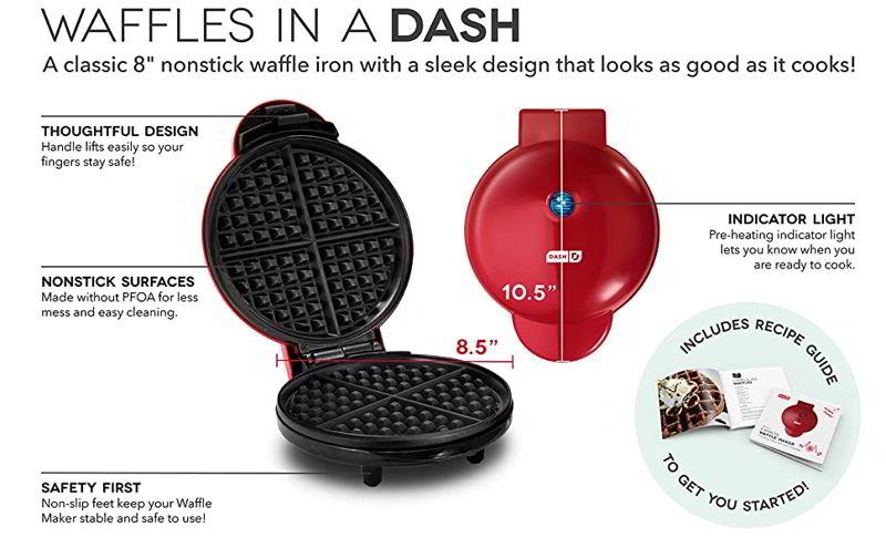 "Dash DEWM8100AQ Express 8"" Waffle Maker Machine 2"