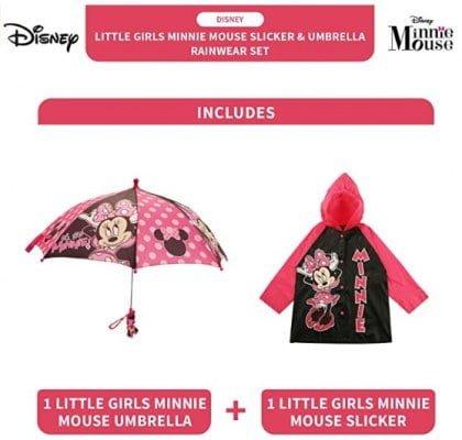 Disney Little Girls Assorted Characters Slicker and Umbrella Rainwear