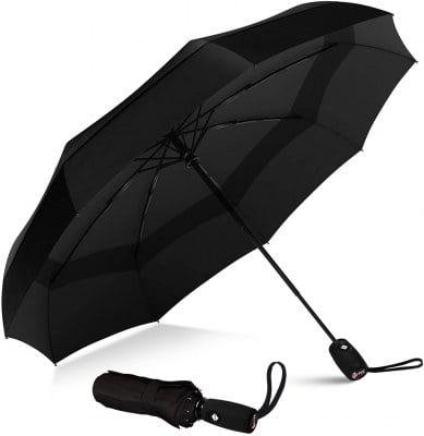repel windproof double vented travel umbrella with teflon coating