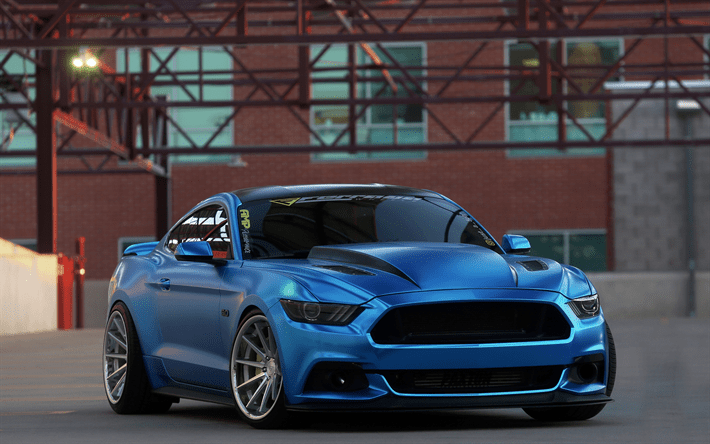 American Muscle Cars Mustang Wallpaper Download Wallpapers Ford Mustang 2017 Tuning Blue