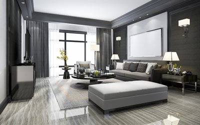 Download Wallpapers Modern Interior Design Living Room Stylish Gray Interior Modern Style Black And White Living Room Polished Black Round Table For Desktop Free Pictures For Desktop Free