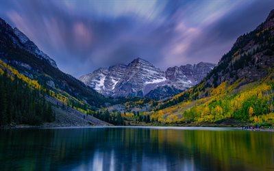 Scarica sfondi Maroon Lago montagna lago autunno