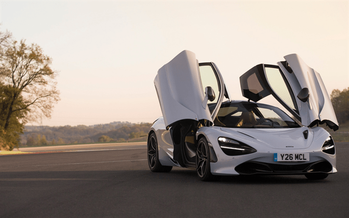 Download Wallpapers Mclaren 720s 2018 Supercar White 720s Sunset