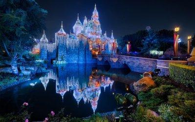 Download wallpapers Disneyland Sleeping Beauty Castle Anaheim USA fairytale castle Fantasyland night California for desktop free Pictures for desktop free