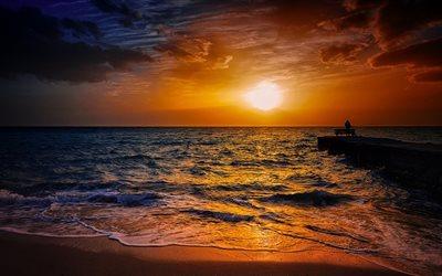 ダウンロード画像 波, ビーチ, 海岸, 漁師, 夕日, 夕方の風景, 海 フリー. のピクチャを無料デスクトップの壁紙