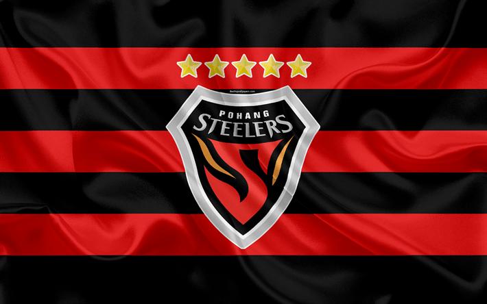 Download wallpapers Pohang Steelers FC, silk flag, 4k, logo ...